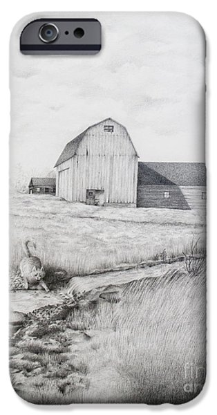 Old Barn Drawing iPhone Cases - Catching Fishes iPhone Case by Emily Wickerham