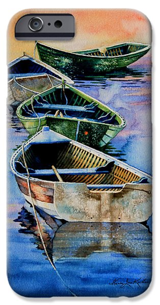 Mist iPhone Cases - Down East Dories At Dawn iPhone Case by Hanne Lore Koehler
