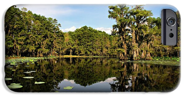 Algae Photographs iPhone Cases - Down In The Bayou iPhone Case by Lana Trussell