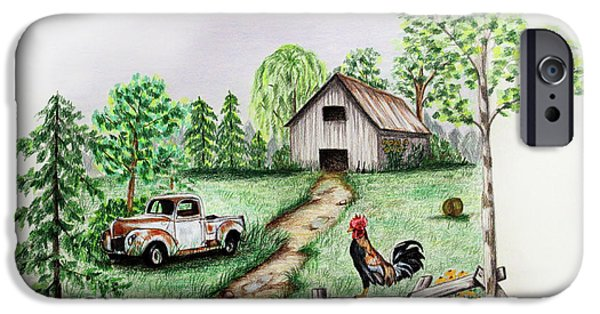 Fence Drawings iPhone Cases - Down on the Farm iPhone Case by Lena Auxier