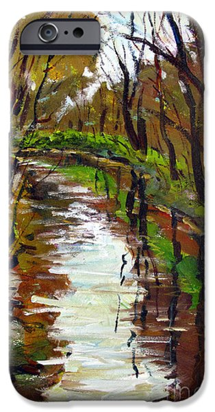 Fall Of River Paintings iPhone Cases - Down River from the Bridge iPhone Case by Charlie Spear