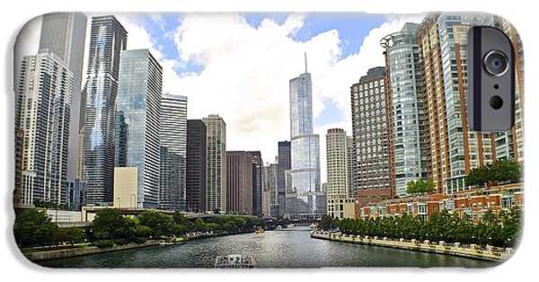 Chicago Cubs iPhone Cases - Down the Chicago River iPhone Case by Frozen in Time Fine Art Photography
