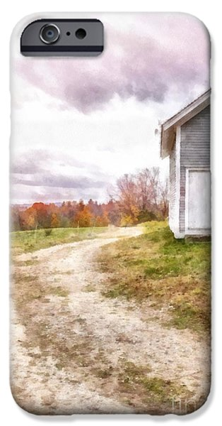 Fall Foliage iPhone Cases - Down the country lane iPhone Case by Edward Fielding