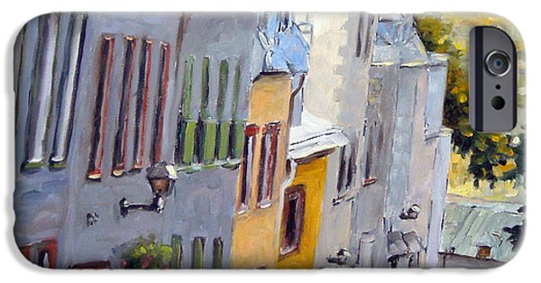 Quebec Paintings iPhone Cases - Down The Hill Old Quebec City iPhone Case by Richard T Pranke