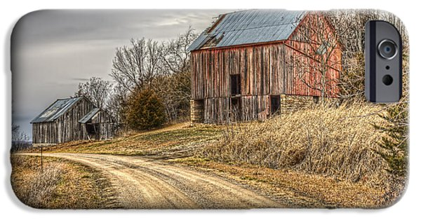 Barns Pyrography iPhone Cases - Down the Lane iPhone Case by Corey Cassaw