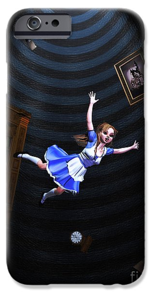 Alice In Wonderland iPhone Cases - Down The Rabbit Hole iPhone Case by Methune Hively