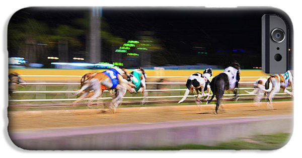 Dog Race Track iPhone Cases - Down The Track iPhone Case by Keith Armstrong