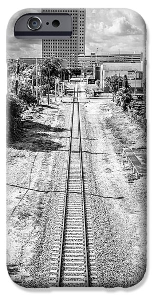 Concrete Jungle iPhone Cases - Down the Tracks - Downtown Miami - Black and White iPhone Case by Ian Monk