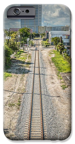 Concrete Jungle iPhone Cases - Down the Tracks - Downtown Miami iPhone Case by Ian Monk