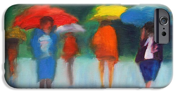 Rain Mixed Media iPhone Cases - DOWNPOUR in CENTRAL PARK iPhone Case by Dan Haraga