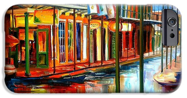Reflection Paintings iPhone Cases - Downpour on Bourbon Street iPhone Case by Diane Millsap