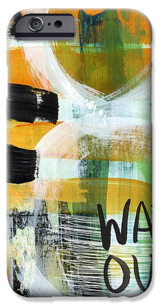 Urban Art iPhone Cases - Downtown- abstract expressionist art iPhone Case by Linda Woods