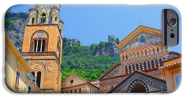 Old Churches iPhone Cases - Downtown Amalfi Italy  iPhone Case by Irina Sztukowski