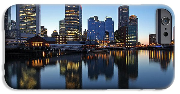 City. Boston iPhone Cases - Downtown and Intercontinental Hotel Boston iPhone Case by Juergen Roth