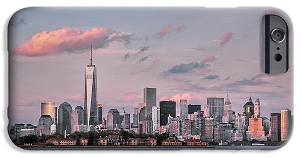 Hudson River iPhone Cases - Downtown at dusk iPhone Case by Eduard Moldoveanu