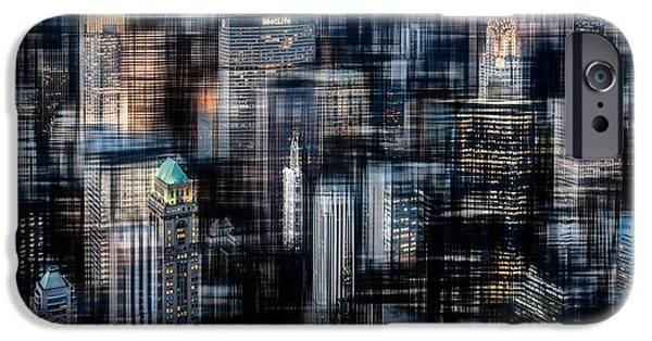 High Tower iPhone Cases - Downtown at night iPhone Case by Hannes Cmarits