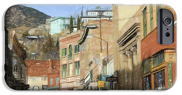 City Scape Drawings iPhone Cases - Downtown Bisbee iPhone Case by Steve Bailey