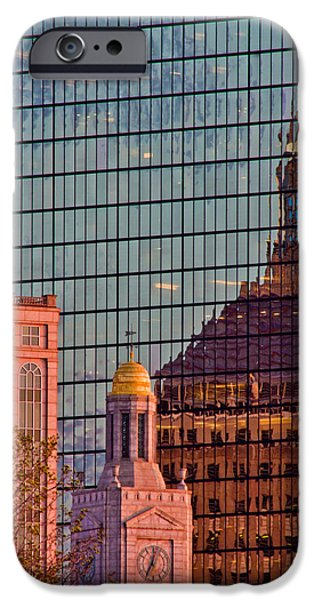 City. Boston iPhone Cases - Downtown Boston Reflection iPhone Case by John McGraw
