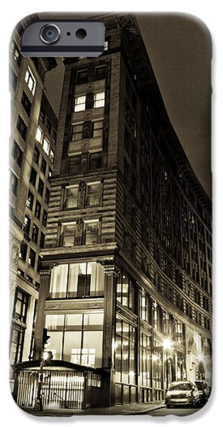 City. Boston iPhone Cases - Downtown Boston Sepia iPhone Case by John McGraw