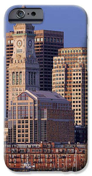 Custom House Tower iPhone Cases - Downtown Boston with Sail Boats iPhone Case by Juergen Roth