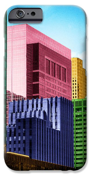 Tetris Block iPhone Cases - Downtown Building Blocks iPhone Case by Bartz Johnson