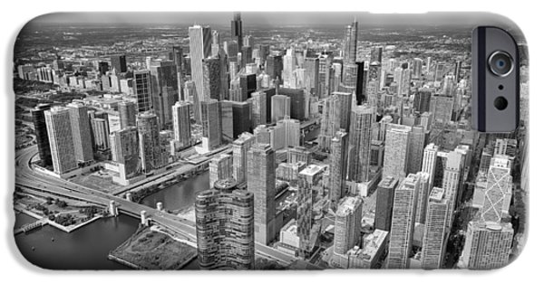 Willis Tower iPhone Cases - Downtown Chicago Aerial Black and White iPhone Case by Adam Romanowicz