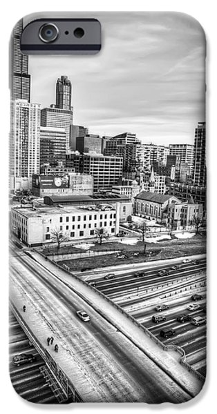 Willis Tower iPhone Cases - Downtown Chicago and The Willis Tower in Black and White iPhone Case by The  Vault - Jennifer Rondinelli Reilly