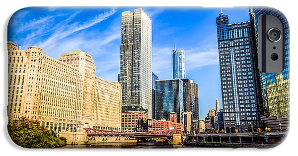 Merchandise iPhone Cases - Downtown Chicago at Franklin Street Bridge Picture iPhone Case by Paul Velgos