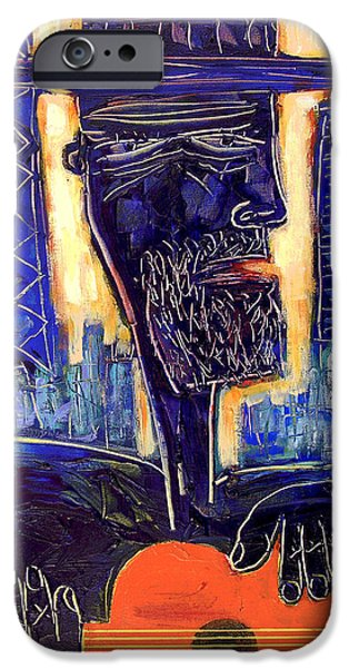Wrigley Paintings iPhone Cases - Downtown Chicago Blues - Chicago Skyline Art iPhone Case by Joseph Catanzaro