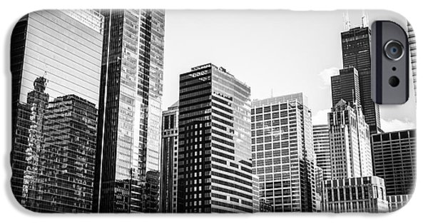 Business iPhone Cases - Downtown Chicago Buildings in Black and White iPhone Case by Paul Velgos