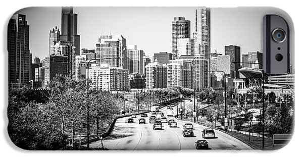 Lake Shore Drive iPhone Cases - Downtown Chicago Lake Shore Drive in Black and White iPhone Case by Paul Velgos
