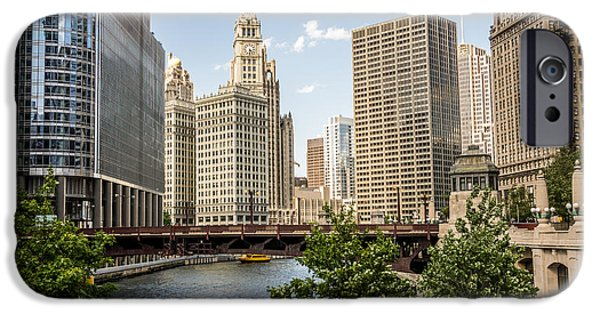 Wrigley iPhone Cases - Downtown Chicago Skyline at Wabash Avenue Bridge iPhone Case by Paul Velgos