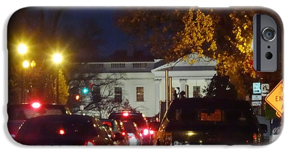 Behind The Scenes Photographs iPhone Cases - Downtown DC photography White House limos in the rain iPhone Case by Washington DC Photographer