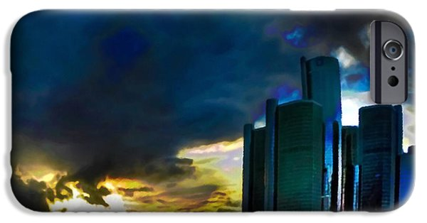 City Scape Mixed Media iPhone Cases - Downtown Detroit at Dusk iPhone Case by  Fli Art