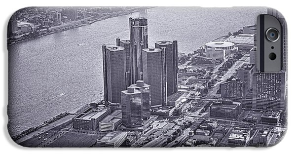 Renaissance Center iPhone Cases - Downtown Detroit iPhone Case by Nicholas  Grunas