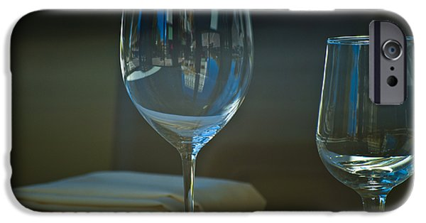 Wine Reflection Art iPhone Cases - Downtown Dining iPhone Case by Christi Kraft