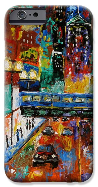 Chicago Paintings iPhone Cases - Downtown Friday Night iPhone Case by J Loren Reedy