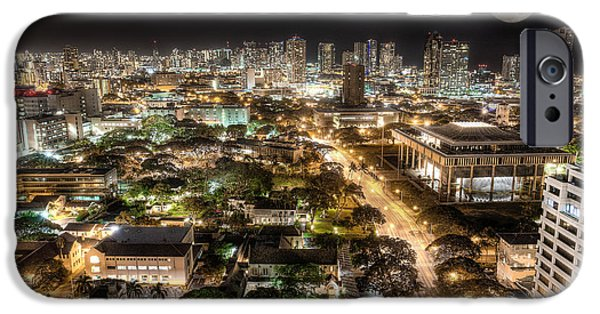 Banzai iPhone Cases - Downtown Honolulu moonrise iPhone Case by Tin Lung Chao