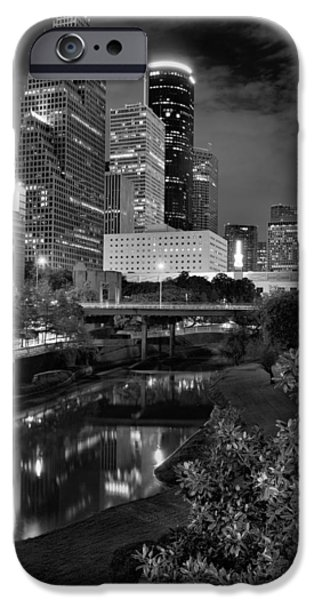 Franklin iPhone Cases - Downtown Houston at Night. iPhone Case by Silvio Ligutti