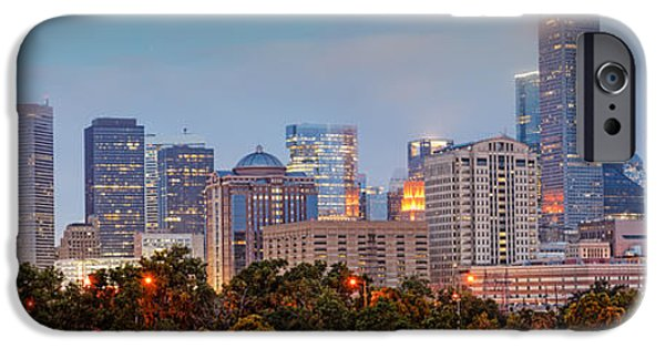 Tree. Sycamore iPhone Cases - Downtown Houston Panorama at Dawn iPhone Case by Silvio Ligutti