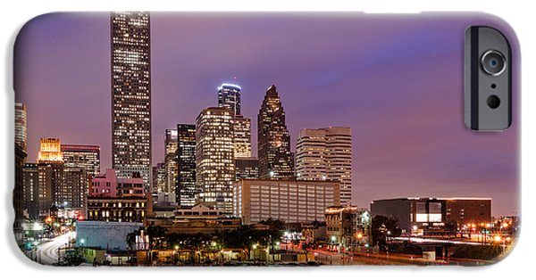 Downtown Franklin iPhone Cases - Downtown Houston Texas Skyline Beating Heart of a Bustling City iPhone Case by Silvio Ligutti
