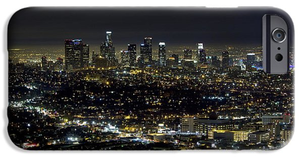 Business Photographs iPhone Cases - Downtown LA at night iPhone Case by David Persson