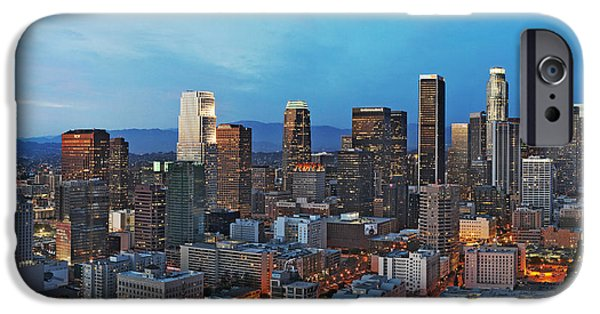 Night Angel iPhone Cases - Downtown Los Angeles iPhone Case by Kelley King