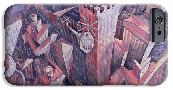 Birdseye iPhone Cases - Downtown Manhattan Hailstorm, 1995 Oil On Canvas iPhone Case by Charlotte Johnson Wahl