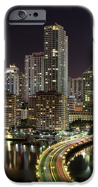 Waterfront Photographs iPhone Cases - Downtown Miami from Brickell Key iPhone Case by Andres Leon