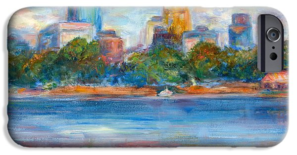 Hong Kong Paintings iPhone Cases - Downtown Minneapolis Skyline from Lake Calhoun II - Or Commission Your City Painting iPhone Case by Quin Sweetman