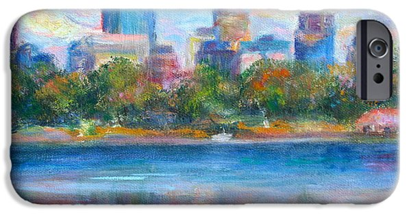 Pride Paintings iPhone Cases - Downtown Minneapolis Skyline from Lake Calhoun iPhone Case by Quin Sweetman