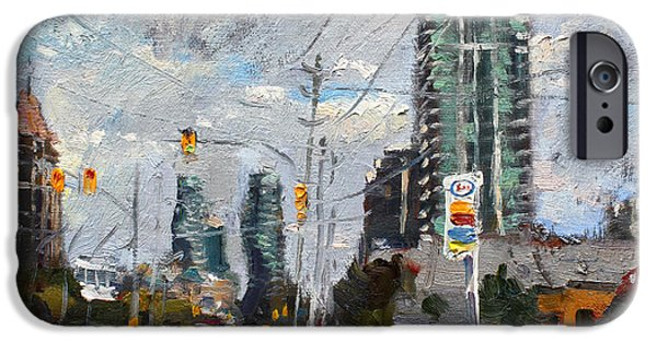 Toronto Paintings iPhone Cases - Downtown Mississauga ON iPhone Case by Ylli Haruni