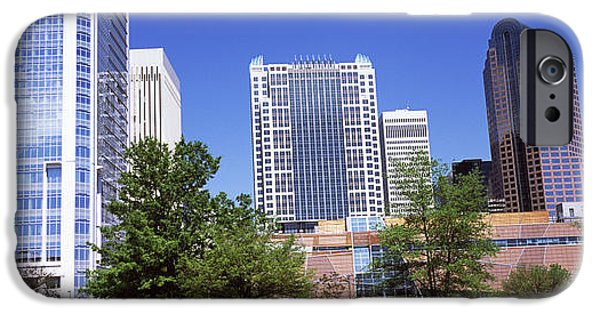 Charlotte iPhone Cases - Downtown Modern Buildings In A City iPhone Case by Panoramic Images
