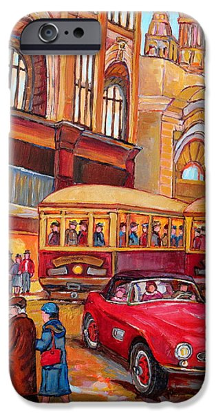Montreal Memories. iPhone Cases - Downtown Montreal-streetcars-couple Near Red Fifties Mustang-montreal Vintage Street Scene iPhone Case by Carole Spandau